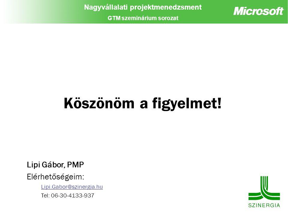 Nagyvállalati projektmenedzsment GTM szeminárium sorozat Köszönöm a figyelmet! Lipi Gábor, PMP Elérhetőségeim: Lipi.Gabor@szinergia.hu Tel: 06-30-4133