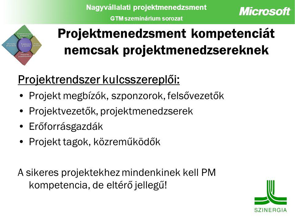 Nagyvállalati projektmenedzsment GTM szeminárium sorozat Projektmenedzsment kompetenciát nemcsak projektmenedzsereknek Projektrendszer kulcsszereplői: