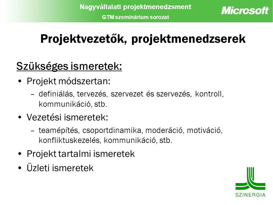 Nagyvállalati projektmenedzsment GTM szeminárium sorozat Projektvezetők, projektmenedzserek Szükséges ismeretek: Projekt módszertan: –definiálás, terv