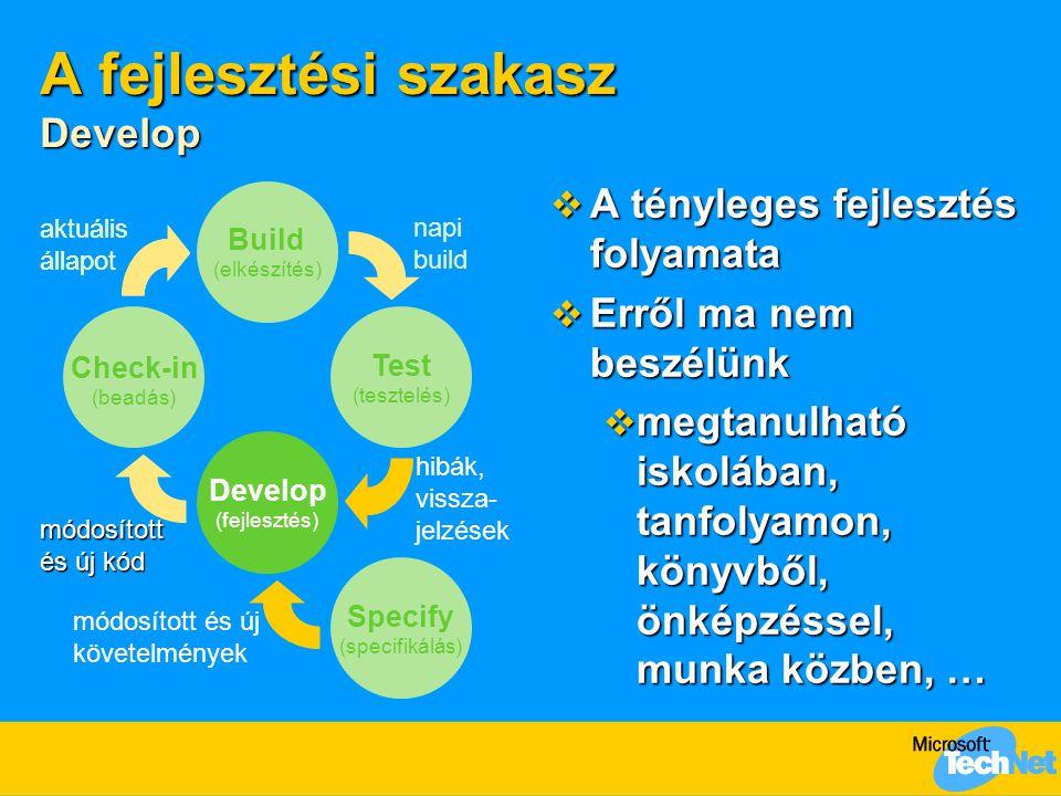 A fejlesztési szakasz Develop  A tényleges fejlesztés folyamata  Erről ma nem beszélünk  megtanulható iskolában, tanfolyamon, könyvből, önképzéssel, munka közben, … Build (elkészítés) Develop (fejlesztés) Test (tesztelés) Specify (specifikálás) aktuális állapot napi build hibák, vissza- jelzések módosított és új követelmények aktuális állapot módosított és új kód Check-in (beadás)