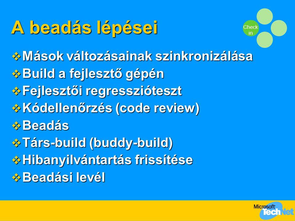 Check in A beadás lépései  Mások változásainak szinkronizálása  Build a fejlesztő gépén  Fejlesztői regresszióteszt  Kódellenőrzés (code review)  Beadás  Társ-build (buddy-build)  Hibanyilvántartás frissítése  Beadási levél