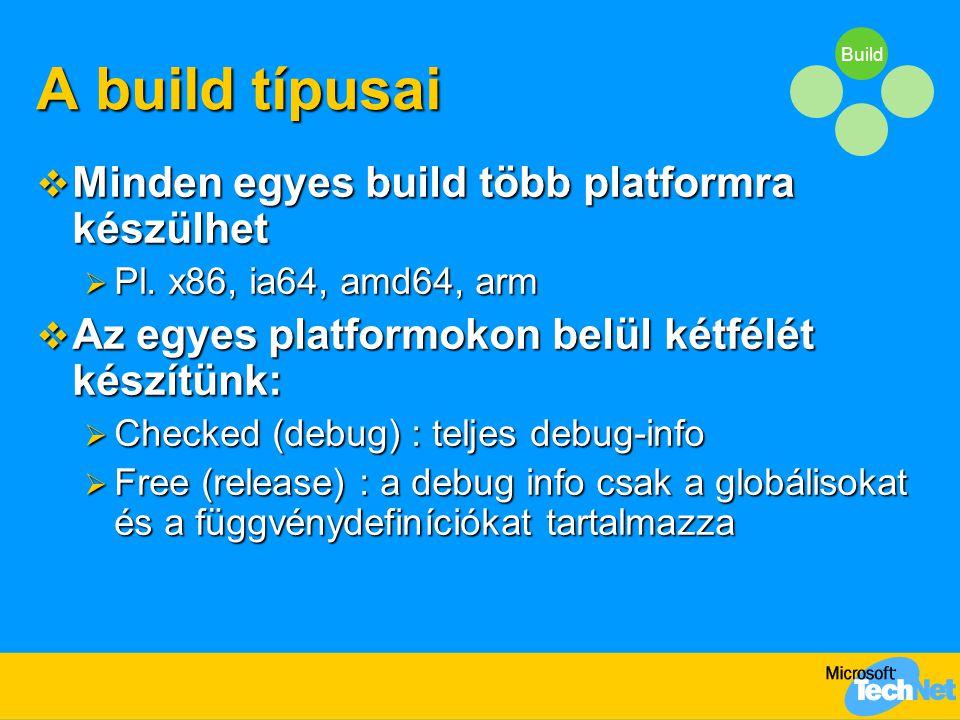 Build A build típusai  Minden egyes build több platformra készülhet  Pl.