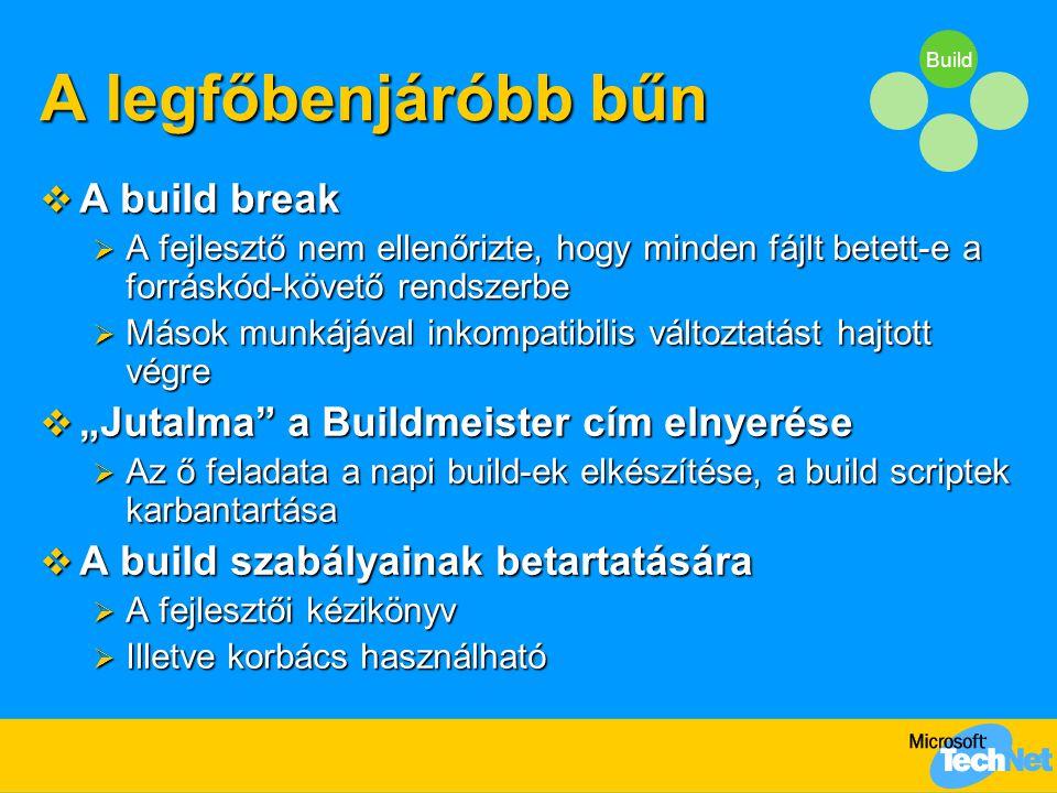 """Build A legfőbenjáróbb bűn  A build break  A fejlesztő nem ellenőrizte, hogy minden fájlt betett-e a forráskód-követő rendszerbe  Mások munkájával inkompatibilis változtatást hajtott végre  """"Jutalma a Buildmeister cím elnyerése  Az ő feladata a napi build-ek elkészítése, a build scriptek karbantartása  A build szabályainak betartatására  A fejlesztői kézikönyv  Illetve korbács használható"""
