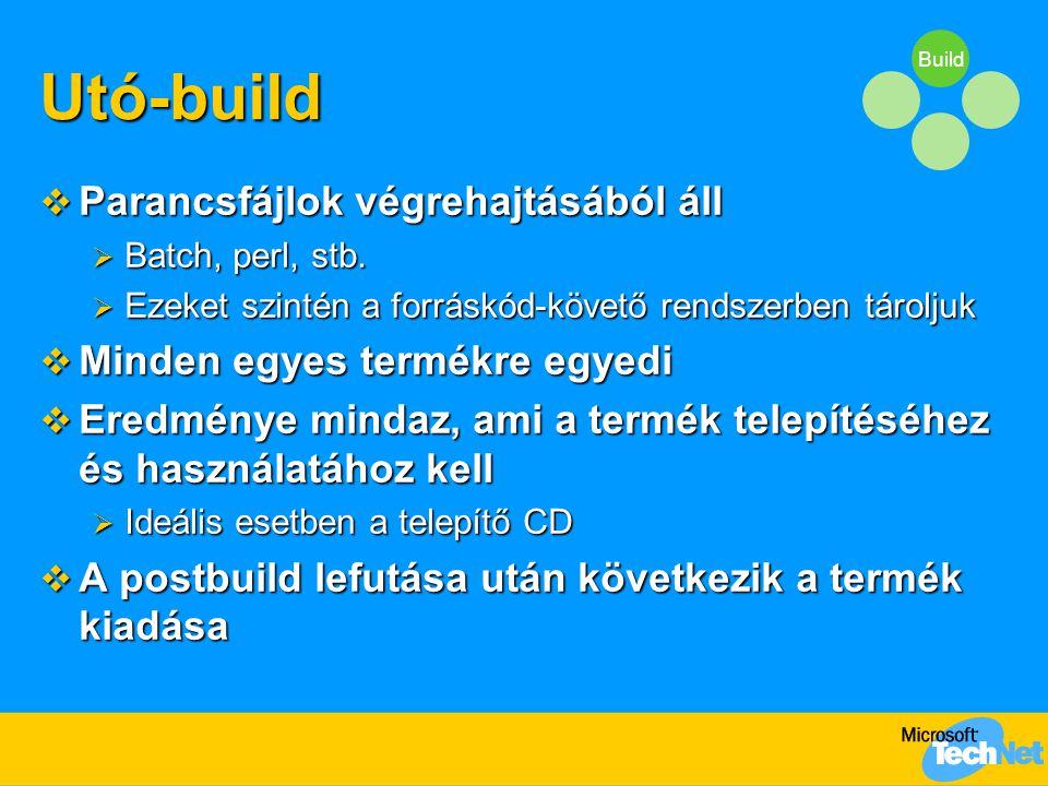 BuildUtó-build  Parancsfájlok végrehajtásából áll  Batch, perl, stb.