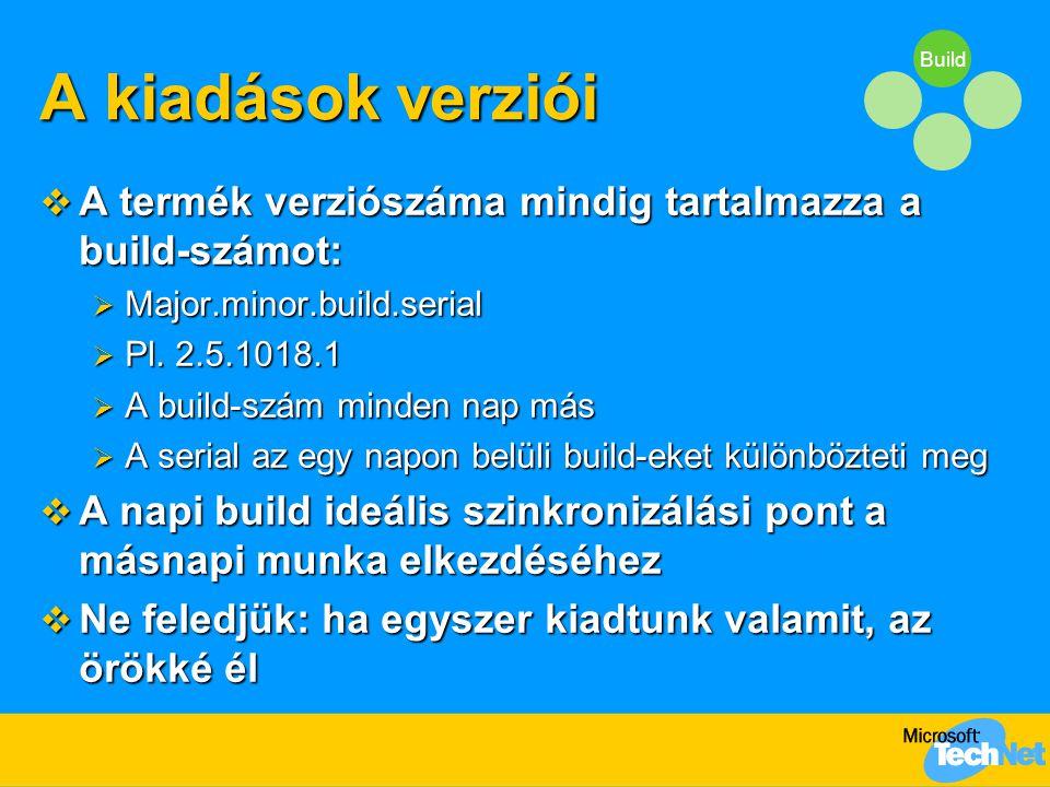 Build A kiadások verziói  A termék verziószáma mindig tartalmazza a build-számot:  Major.minor.build.serial  Pl.