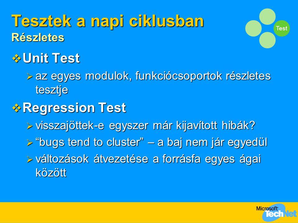 Test Tesztek a napi ciklusban Részletes  Unit Test  az egyes modulok, funkciócsoportok részletes tesztje  Regression Test  visszajöttek-e egyszer már kijavított hibák.
