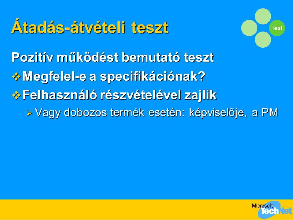 Test Átadás-átvételi teszt Pozitív működést bemutató teszt  Megfelel-e a specifikációnak.