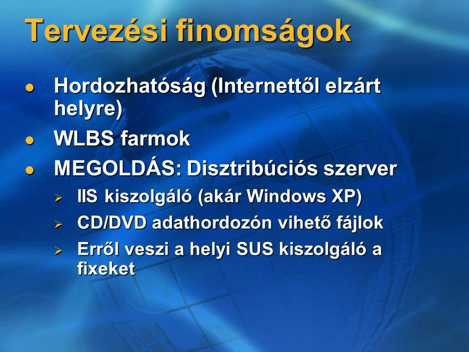 Tervezési finomságok Hordozhatóság (Internettől elzárt helyre) Hordozhatóság (Internettől elzárt helyre) WLBS farmok WLBS farmok MEGOLDÁS: Disztribúci