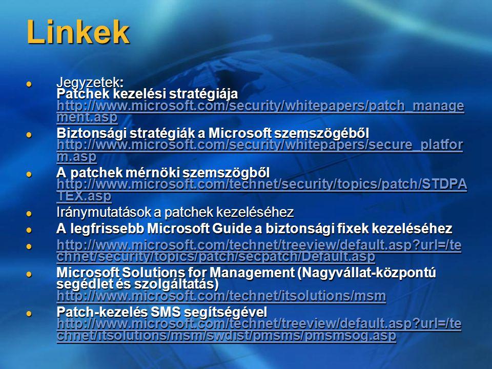 Linkek Jegyzetek: Patchek kezelési stratégiája http://www.microsoft.com/security/whitepapers/patch_manage ment.asp Jegyzetek: Patchek kezelési stratég