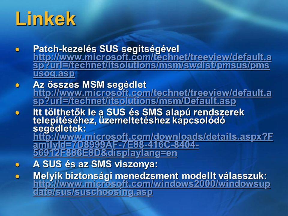 Linkek Patch-kezelés SUS segítségével http://www.microsoft.com/technet/treeview/default.a sp?url=/technet/itsolutions/msm/swdist/pmsus/pms usog.asp Pa
