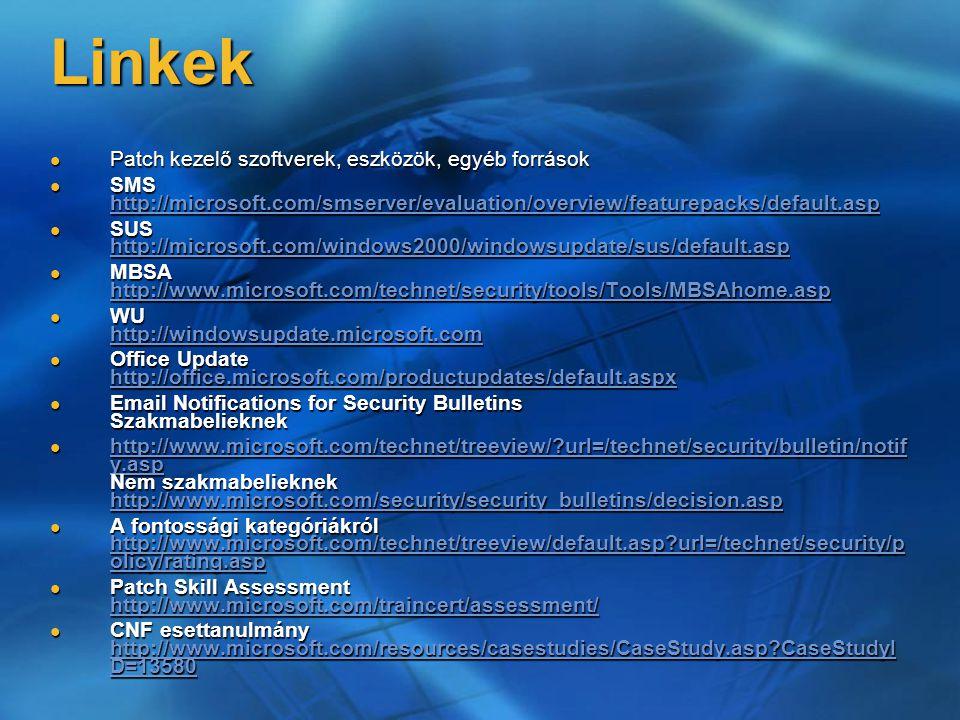 Linkek Patch kezelő szoftverek, eszközök, egyéb források Patch kezelő szoftverek, eszközök, egyéb források SMS http://microsoft.com/smserver/evaluatio