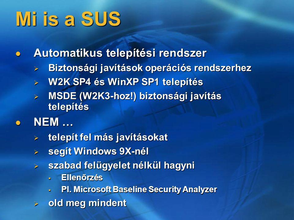 Mi is a SUS Automatikus telepítési rendszer Automatikus telepítési rendszer  Biztonsági javítások operációs rendszerhez  W2K SP4 és WinXP SP1 telepí