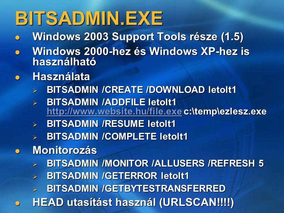 BITSADMIN.EXE Windows 2003 Support Tools része (1.5) Windows 2003 Support Tools része (1.5) Windows 2000-hez és Windows XP-hez is használható Windows
