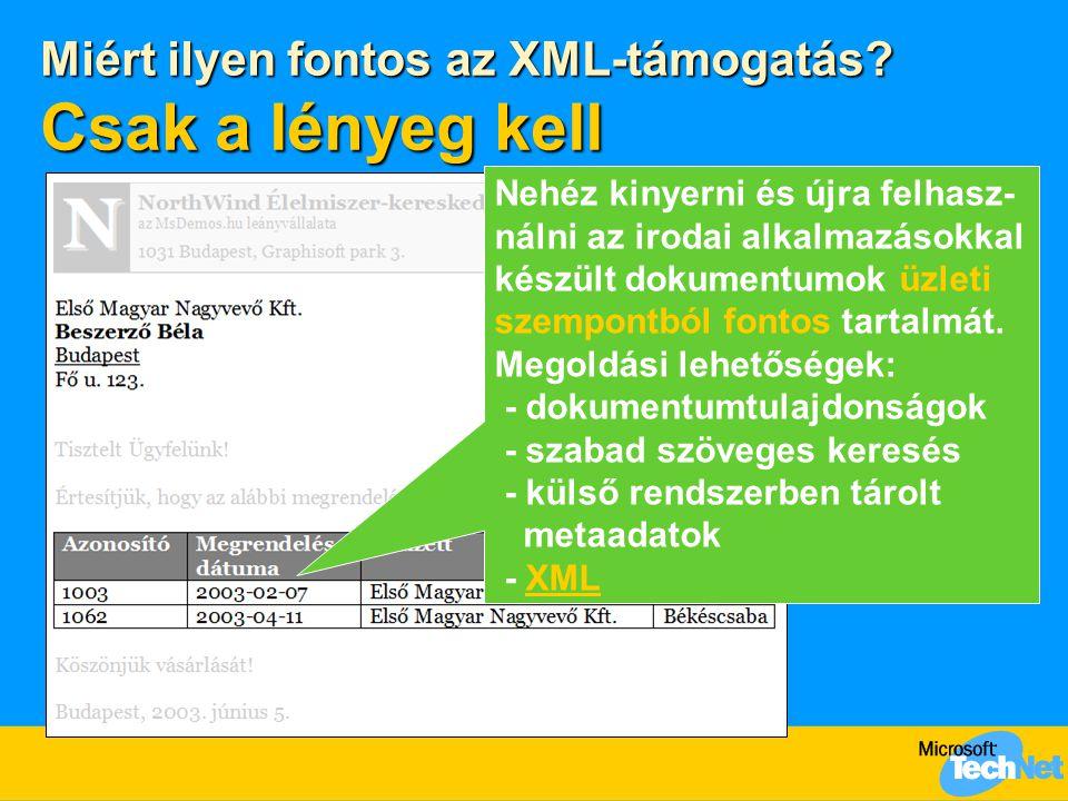 Miért ilyen fontos az XML-támogatás? Csak a lényeg kell Nehéz kinyerni és újra felhasz- nálni az irodai alkalmazásokkal készült dokumentumok üzleti sz