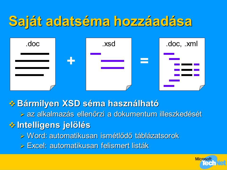 Saját adatséma hozzáadása  Bármilyen XSD séma használható  az alkalmazás ellenőrzi a dokumentum illeszkedését  Intelligens jelölés  Word: automatikusan ismétlődő táblázatsorok  Excel: automatikusan felismert listák.doc +.xsd =.doc,.xml