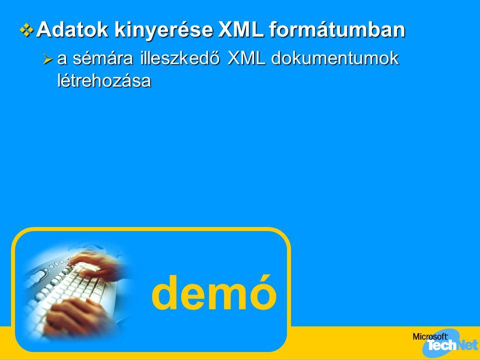 demó  Adatok kinyerése XML formátumban  a sémára illeszkedő XML dokumentumok létrehozása