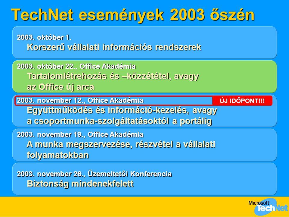 TechNet események 2003 őszén 2003. október 22., Office Akadémia Tartalomlétrehozás és –közzététel, avagy az Office új arca Tartalomlétrehozás és –közz
