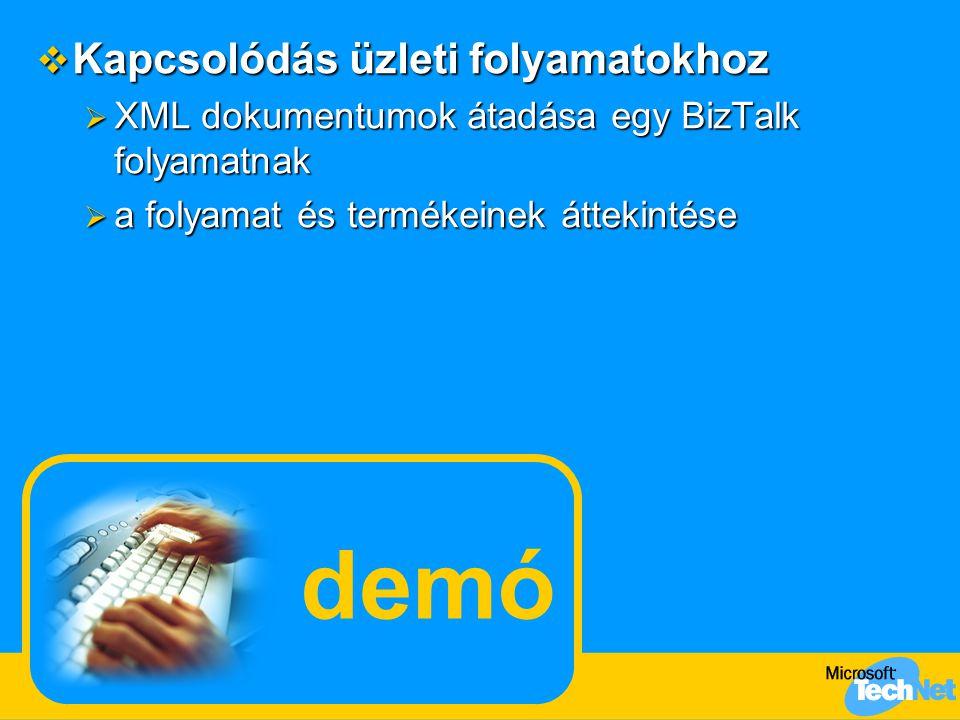 demó  Kapcsolódás üzleti folyamatokhoz  XML dokumentumok átadása egy BizTalk folyamatnak  a folyamat és termékeinek áttekintése