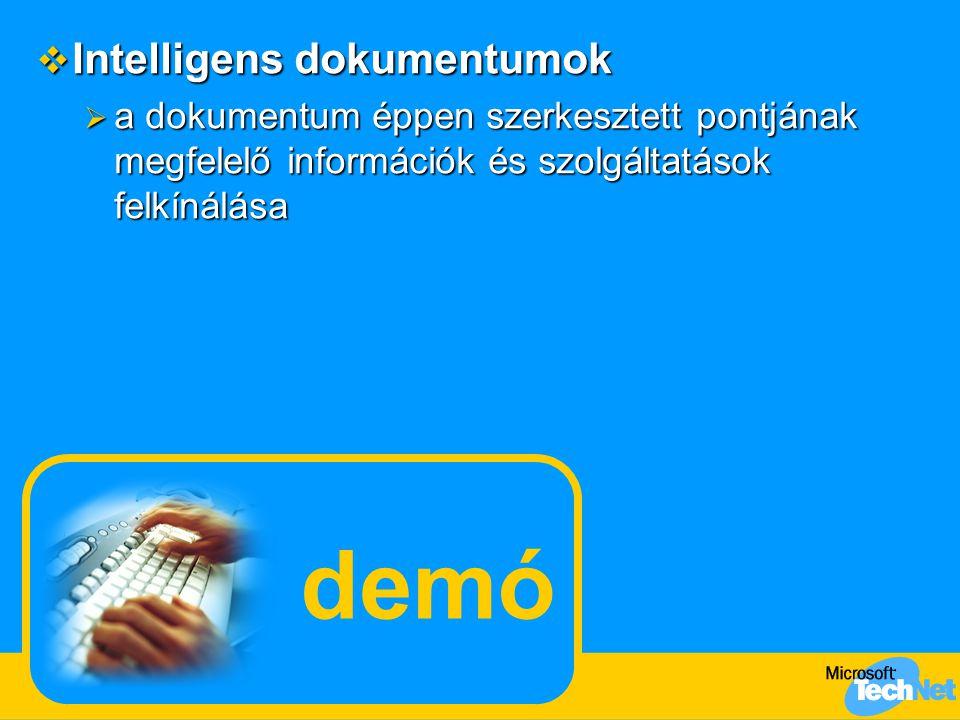 demó  Intelligens dokumentumok  a dokumentum éppen szerkesztett pontjának megfelelő információk és szolgáltatások felkínálása