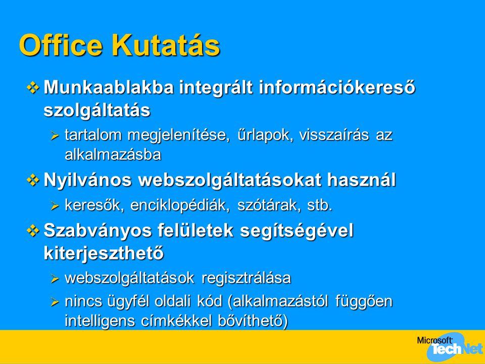 Office Kutatás  Munkaablakba integrált információkereső szolgáltatás  tartalom megjelenítése, űrlapok, visszaírás az alkalmazásba  Nyilvános webszolgáltatásokat használ  keresők, enciklopédiák, szótárak, stb.