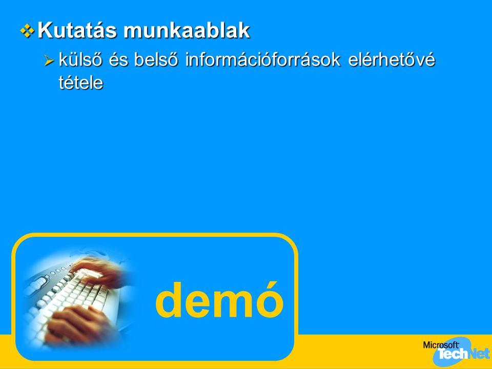 demó  Kutatás munkaablak  külső és belső információforrások elérhetővé tétele