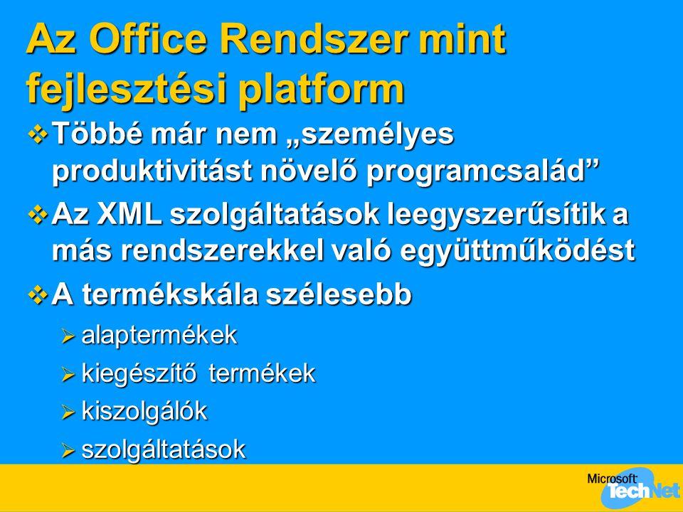 """Az Office Rendszer mint fejlesztési platform  Többé már nem """"személyes produktivitást növelő programcsalád""""  Az XML szolgáltatások leegyszerűsítik a"""