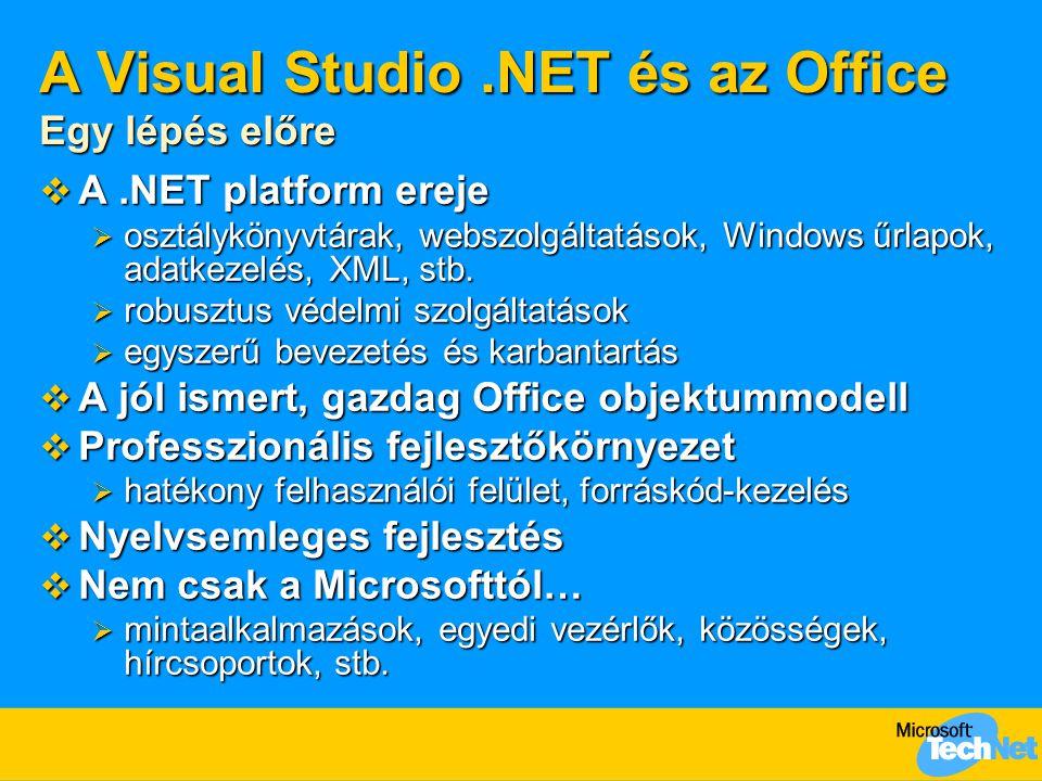 A Visual Studio.NET és az Office Egy lépés előre  A.NET platform ereje  osztálykönyvtárak, webszolgáltatások, Windows űrlapok, adatkezelés, XML, stb