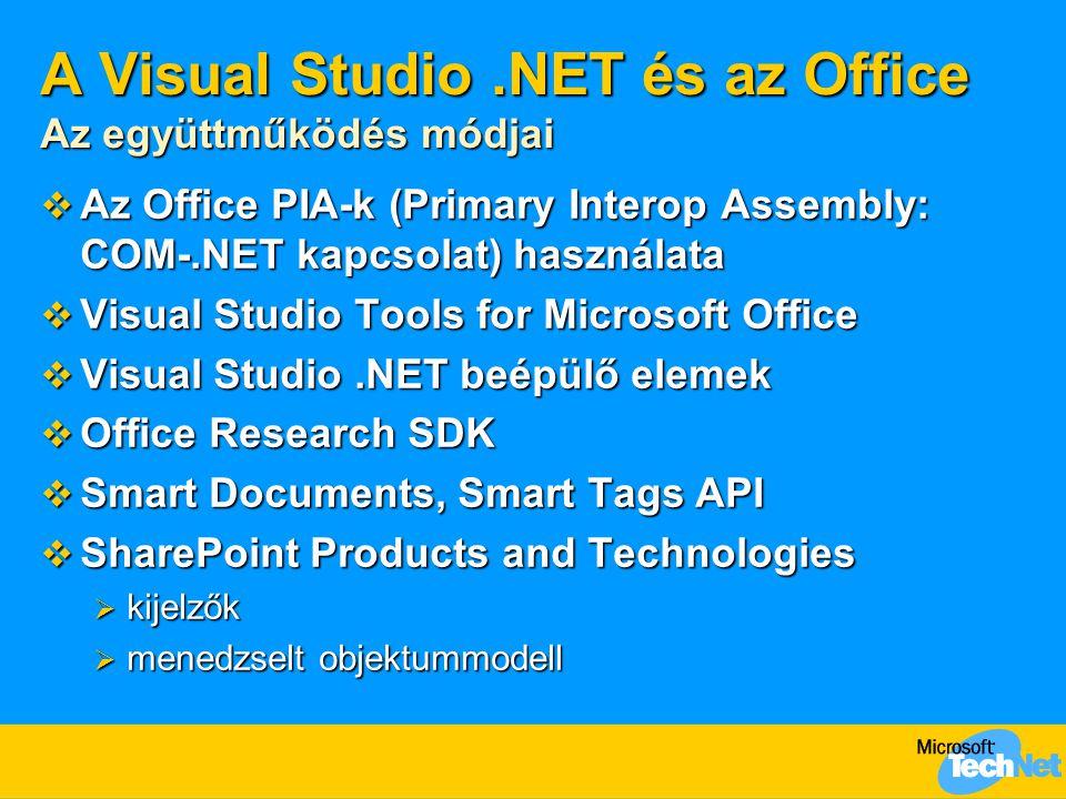 A Visual Studio.NET és az Office Az együttműködés módjai  Az Office PIA-k (Primary Interop Assembly: COM-.NET kapcsolat) használata  Visual Studio Tools for Microsoft Office  Visual Studio.NET beépülő elemek  Office Research SDK  Smart Documents, Smart Tags API  SharePoint Products and Technologies  kijelzők  menedzselt objektummodell