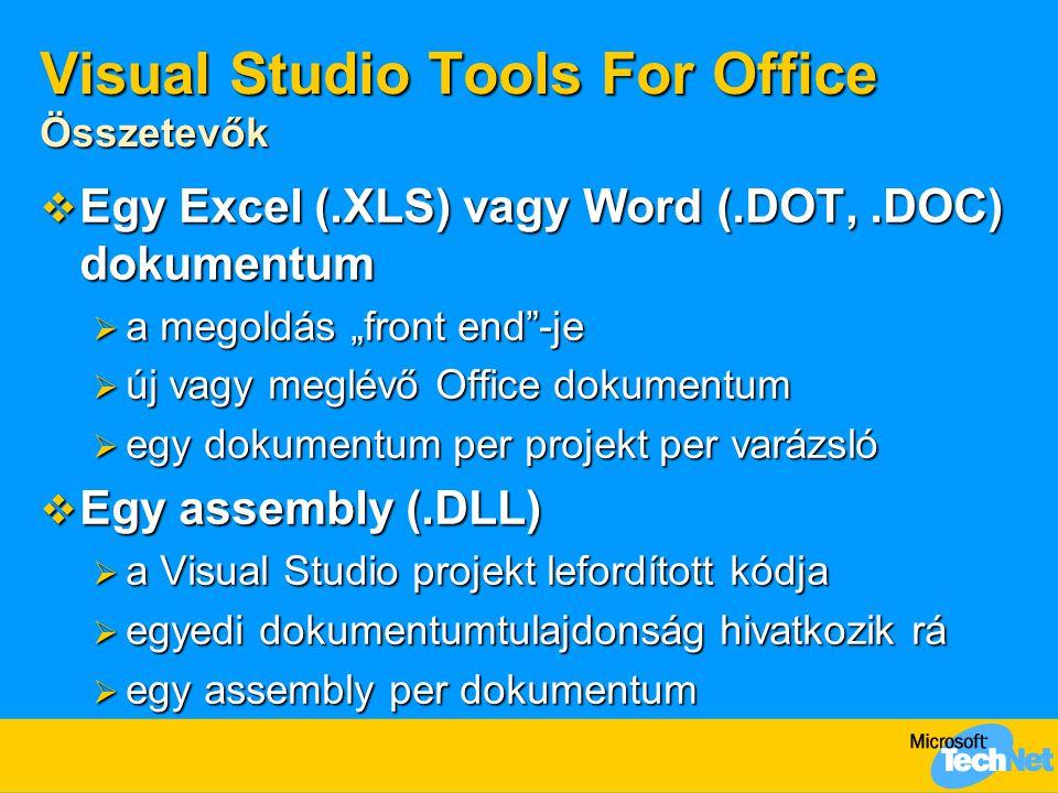 """Visual Studio Tools For Office Összetevők  Egy Excel (.XLS) vagy Word (.DOT,.DOC) dokumentum  a megoldás """"front end -je  új vagy meglévő Office dokumentum  egy dokumentum per projekt per varázsló  Egy assembly (.DLL)  a Visual Studio projekt lefordított kódja  egyedi dokumentumtulajdonság hivatkozik rá  egy assembly per dokumentum"""