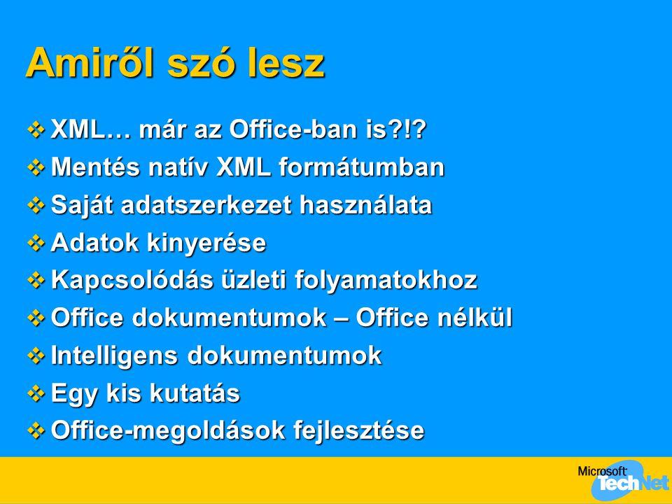 Amiről szó lesz  XML… már az Office-ban is?!?  Mentés natív XML formátumban  Saját adatszerkezet használata  Adatok kinyerése  Kapcsolódás üzleti