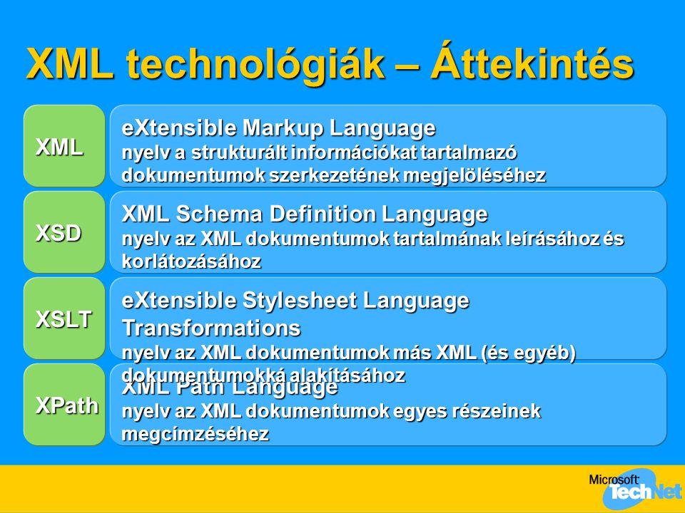 XML technológiák – Áttekintés XML Path Language nyelv az XML dokumentumok egyes részeinek megcímzéséhez XPath eXtensible Stylesheet Language Transform