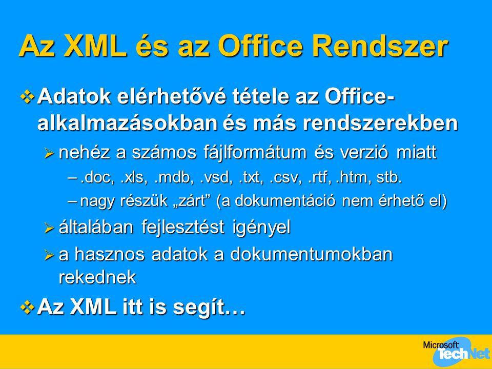 Az XML és az Office Rendszer  Adatok elérhetővé tétele az Office- alkalmazásokban és más rendszerekben  nehéz a számos fájlformátum és verzió miatt