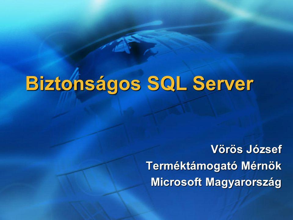 Biztonságos SQL Server Vörös József Terméktámogató Mérnök Microsoft Magyarország