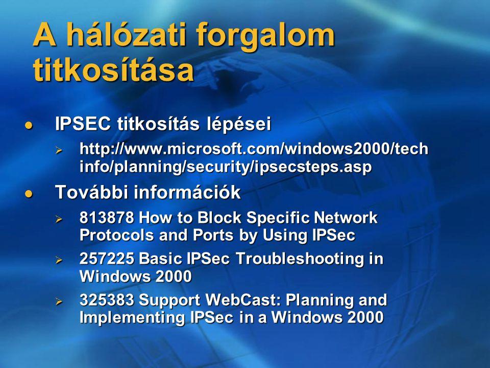A hálózati forgalom titkosítása IPSEC titkosítás lépései IPSEC titkosítás lépései  http://www.microsoft.com/windows2000/tech info/planning/security/i