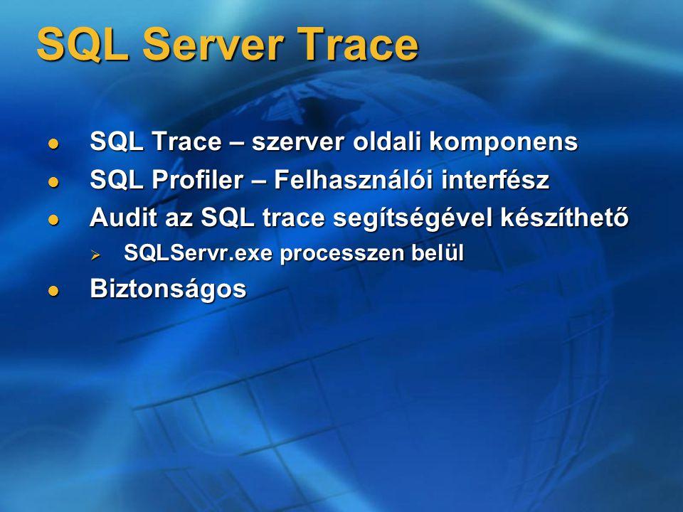 SQL Server Trace SQL Trace – szerver oldali komponens SQL Trace – szerver oldali komponens SQL Profiler – Felhasználói interfész SQL Profiler – Felhas