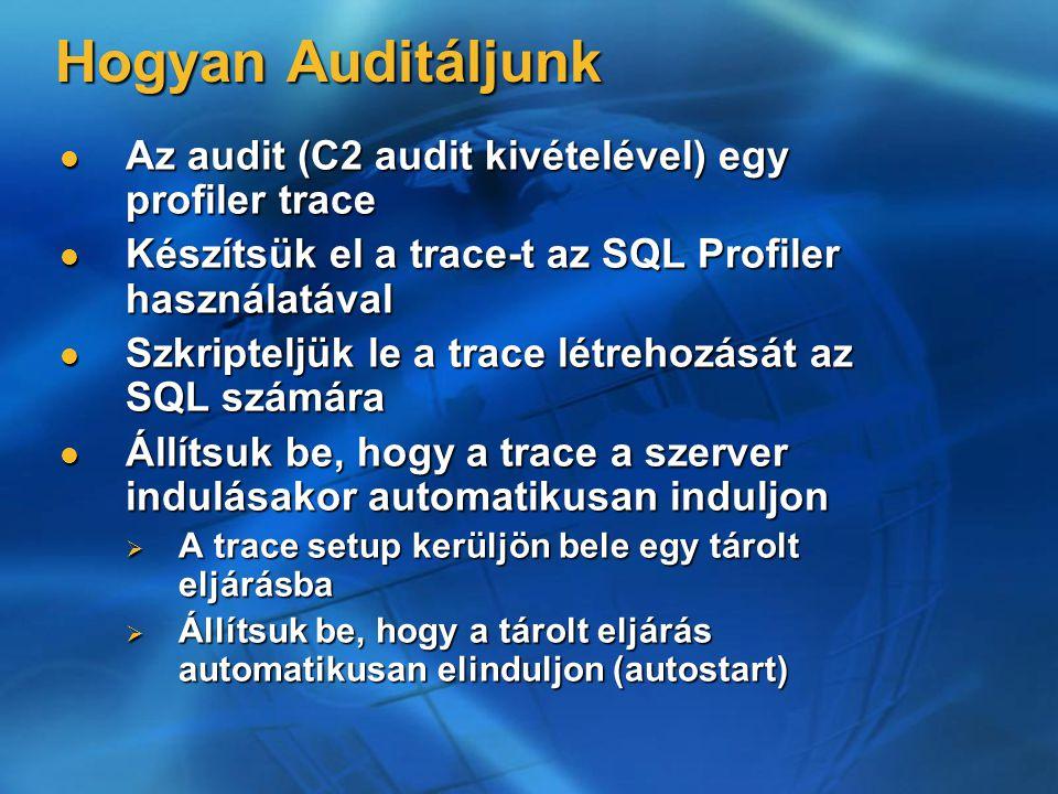 Hogyan Auditáljunk Az audit (C2 audit kivételével) egy profiler trace Az audit (C2 audit kivételével) egy profiler trace Készítsük el a trace-t az SQL