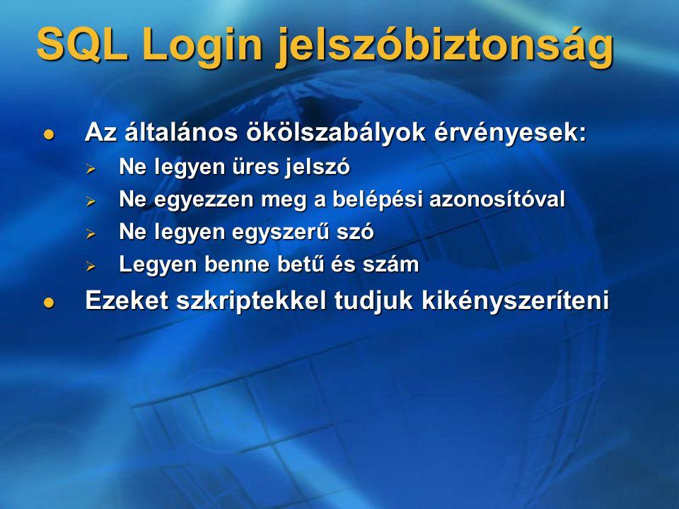 SQL Login jelszóbiztonság Az általános ökölszabályok érvényesek: Az általános ökölszabályok érvényesek:  Ne legyen üres jelszó  Ne egyezzen meg a be