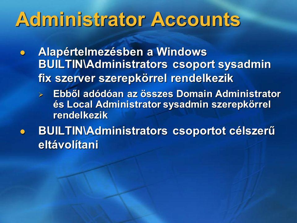 Administrator Accounts Alapértelmezésben a Windows BUILTIN\Administrators csoport sysadmin fix szerver szerepkörrel rendelkezik Alapértelmezésben a Wi