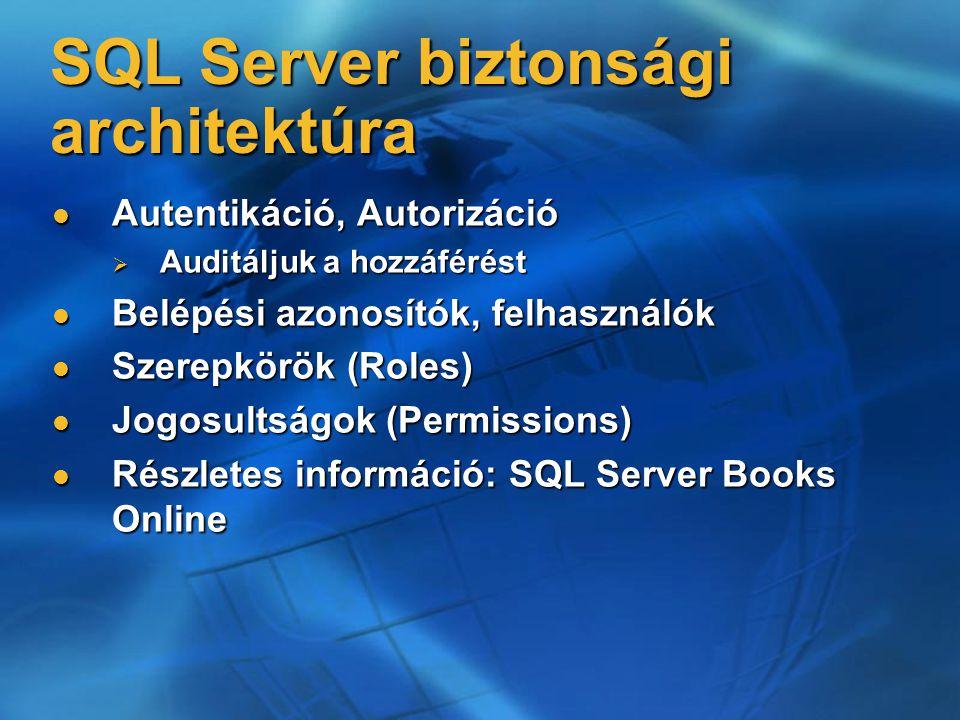 SQL Server biztonsági architektúra Autentikáció, Autorizáció Autentikáció, Autorizáció  Auditáljuk a hozzáférést Belépési azonosítók, felhasználók Be