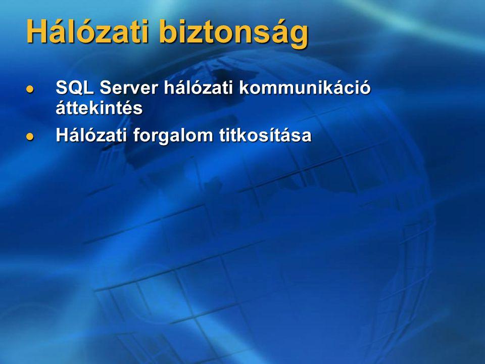 Hálózati biztonság SQL Server hálózati kommunikáció áttekintés SQL Server hálózati kommunikáció áttekintés Hálózati forgalom titkosítása Hálózati forg