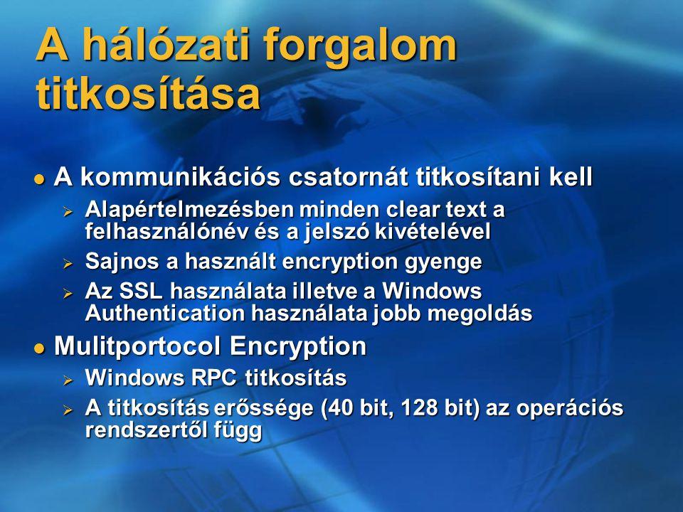 A hálózati forgalom titkosítása A kommunikációs csatornát titkosítani kell A kommunikációs csatornát titkosítani kell  Alapértelmezésben minden clear