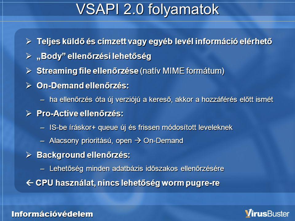 """Információvédelem VSAPI 2.0 folyamatok  Teljes küldő és címzett vagy egyéb levél információ elérhető  """"Body ellenőrzési lehetőség  Streaming file ellenőrzése (natív MIME formátum)  On-Demand ellenőrzés: –ha ellenőrzés óta új verziójú a kereső, akkor a hozzáférés előtt ismét  Pro-Active ellenőrzés: –IS-be íráskor+ queue új és frissen módosított leveleknek –Alacsony prioritású, open  On-Demand  Background ellenőrzés: –Lehetőség minden adatbázis időszakos ellenőrzésére  CPU használat, nincs lehetőség worm pugre-re"""