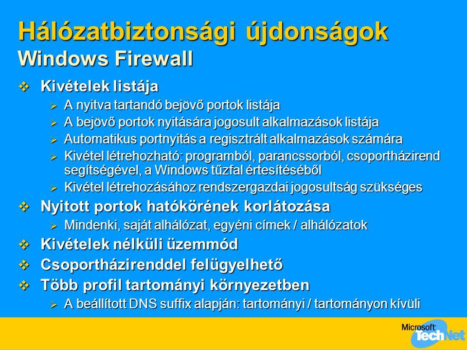 Hálózatbiztonsági újdonságok Windows Firewall  Kivételek listája  A nyitva tartandó bejövő portok listája  A bejövő portok nyitására jogosult alkal