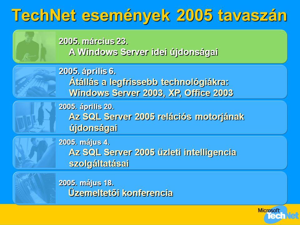 TechNet események 2005 tavaszán 2005. április 6. Átállás a legfrissebb technológiákra: Windows Server 2003, XP, Office 2003 Átállás a legfrissebb tech