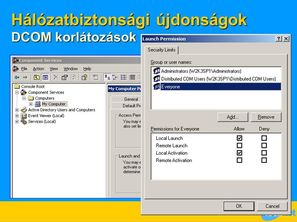 Hálózatbiztonsági újdonságok DCOM korlátozások