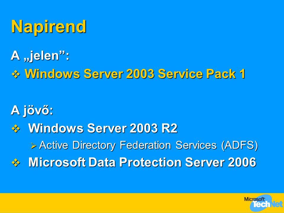 "Napirend A ""jelen :  Windows Server 2003 Service Pack 1 A jövő:  Windows Server 2003 R2  Active Directory Federation Services (ADFS)  Microsoft Data Protection Server 2006"