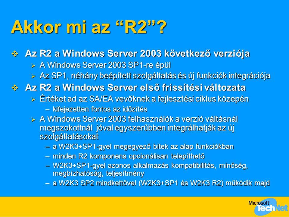 """Akkor mi az """"R2""""?  Az R2 a Windows Server 2003 következő verziója  A Windows Server 2003 SP1-re épül  Az SP1, néhány beépített szolgáltatás és új f"""