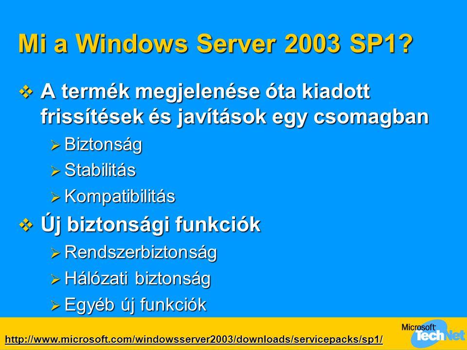 Rendszerbiztonsági újdonságok Post-Setup Security Updates  A kiszolgáló védelme az operációs rendszer és a legfrissebb javítások telepítése között  Figyelmeztető dialógus a Windows Update használatára és az Automatic Updates bekapcsolására  Windows tűzfal bekapcsolva  … ha explicit nem határoztunk másképp