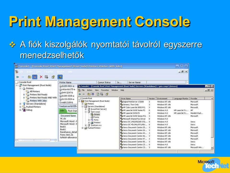 Print Management Console  A fiók kiszolgálók nyomtatói távolról egyszerre menedzselhetők
