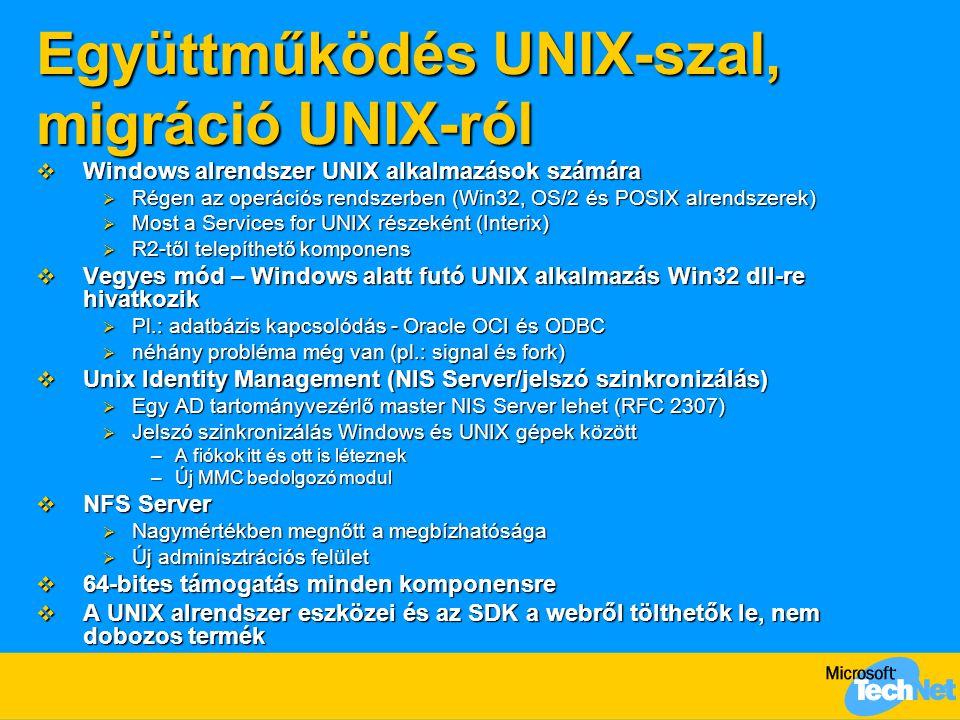 Együttműködés UNIX-szal, migráció UNIX-ról  Windows alrendszer UNIX alkalmazások számára  Régen az operációs rendszerben (Win32, OS/2 és POSIX alren